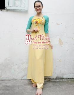 cho thuê áo dài hoa vàng cổ tròn tphcm