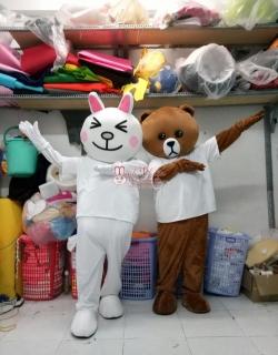 cho thuê đồ mascot mascot thỏ cony và gấu browntphcm