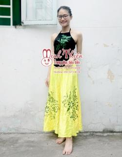 cho thuê trang phục múa yếm đen váy vàng