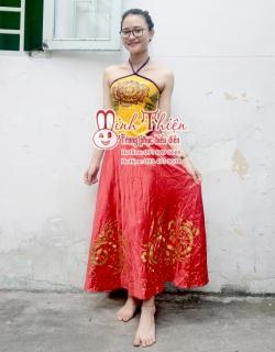 cho thuê trang phục múa yếm vàng váy đỏ